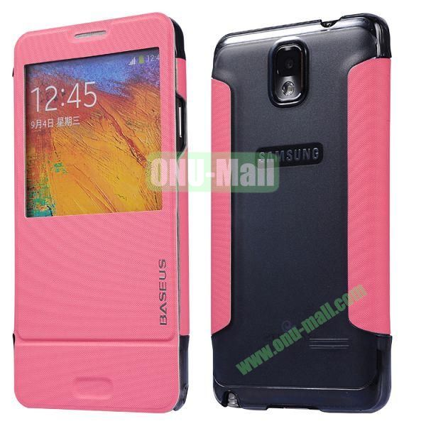 Baseus Leather Case for Samsung Galaxy Note 3 N9005N9002 Window Folio Leather Skin Case Cover (Pink)