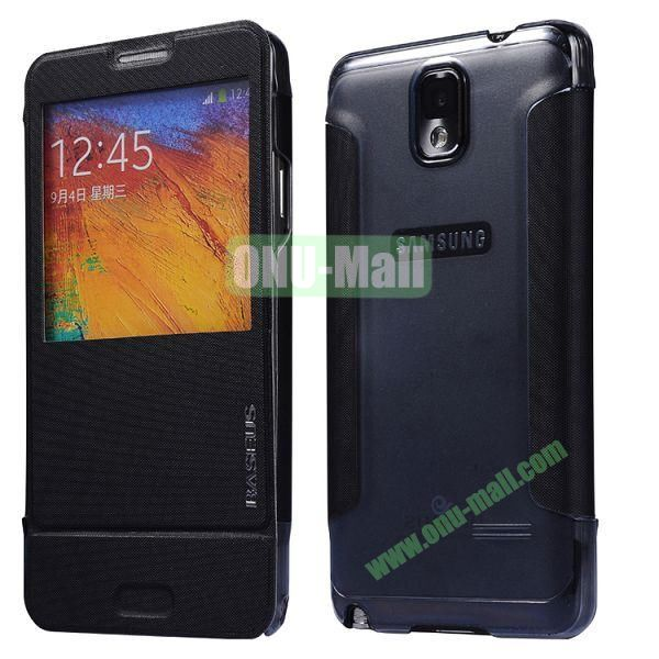 Baseus Leather Case for Samsung Galaxy Note 3 N9005N9002 Window Folio Leather Skin Case Cover (Black)