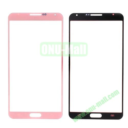 Grid Pattern Front Screen Glass Lens Cover for Samsung Galaxy Note 3 N9000 (Pink)