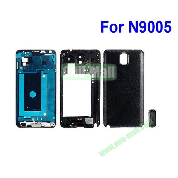 3 in1 Front LCD Screen Digitizer Assembly + Back Frame Bezel Spare Part + Back Cover Replacement Spare Parts for Samsung Galaxy Note 3 N9000 (Black)