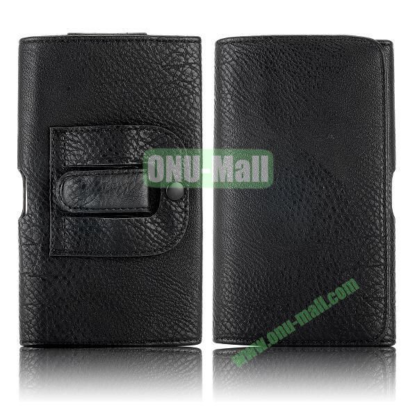Belt Clip Magnetic Pouch Flip Leather Holster Case for Samsung Galaxy Note 3 N9000 (Black)
