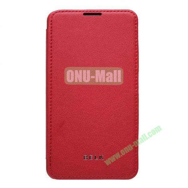 Original BELK Official Lichtee Leather Case Cover for Samsung Galaxy Note 3  N9000 with Magnet (Red)