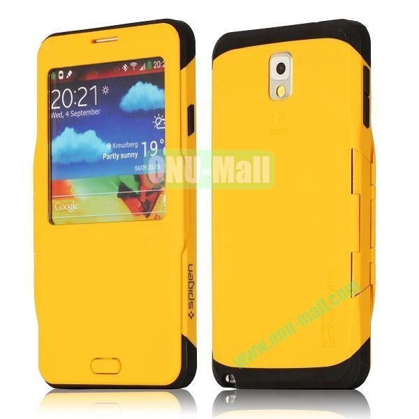Flip Folio TPU+ PC Hard Case for Samsung Galaxy Note 3  N9000 with Caller ID Display Window (Yellow)