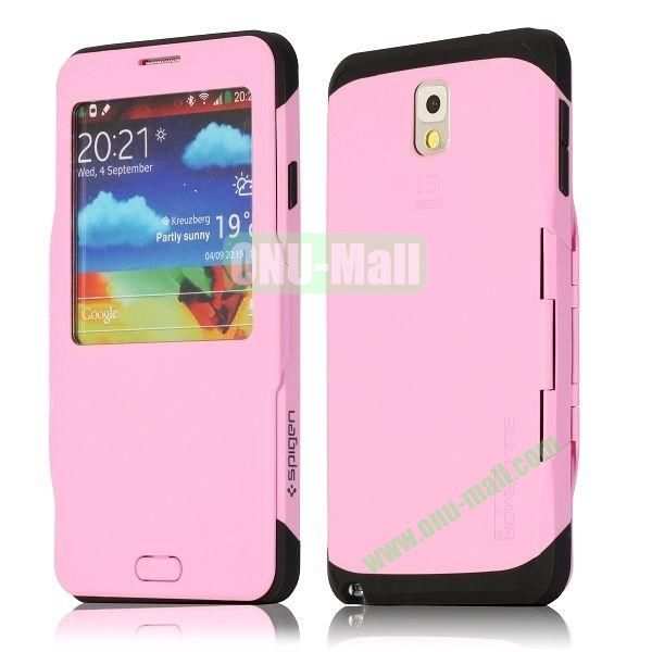 Flip Folio TPU+ PC Hard Case for Samsung Galaxy Note 3  N9000 with Caller ID Display Window (Pink)