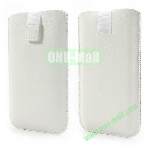Size: 15.5 x 9cm Universal Pull Tab Pouch Sleeve Leather Case Bag For Samsung Galaxy Note 3  N9000, Note 2  N7100 etc (White)