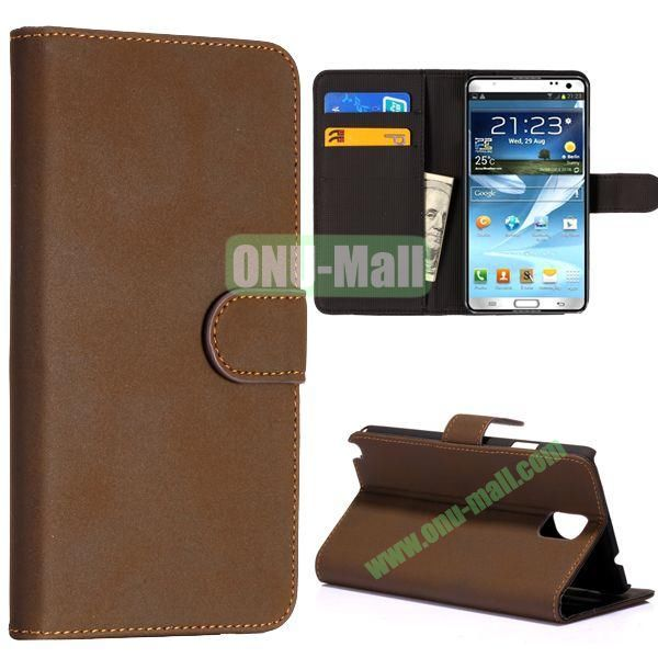 Nubuck Leather Cards Slots Wallet Case Cover for Samsung Galaxy Note 3(Dark Brown)