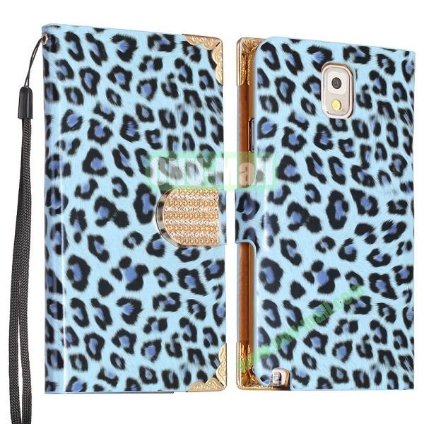 Leopard Pattern Diamond Wallet Leather Case Cover for Samsung Galaxy Note 3N9000N9002N9006 (Blue)