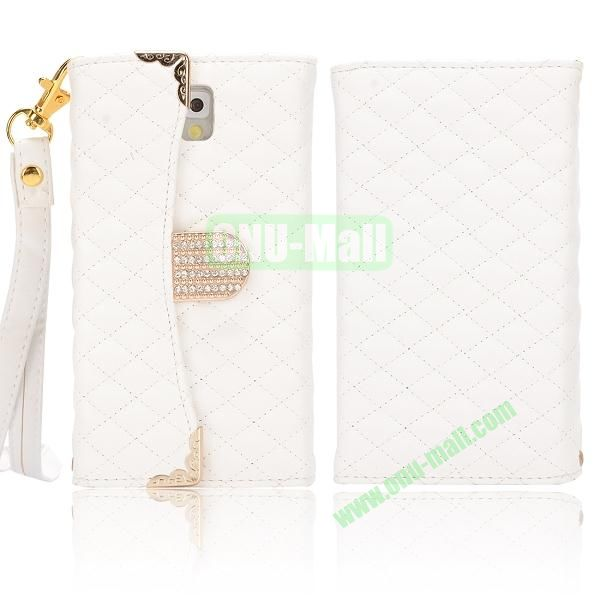 Grid Pattern Handbag Diamond Wallet Leather Case Cover for Samsung Galaxy Note 3N9000N9002N9006 (White)