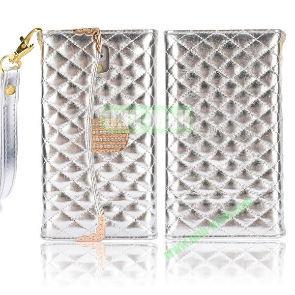 Grid Pattern Handbag Diamond Wallet Leather Case Cover for Samsung Galaxy Note 3N9000N9002N9006 (Silver)