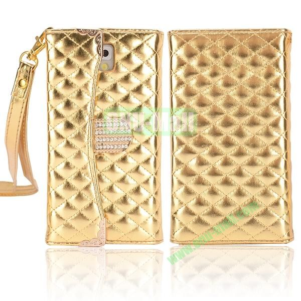 Grid Pattern Handbag Diamond Wallet Leather Case Cover for Samsung Galaxy Note 3N9000N9002N9006 (Gold)