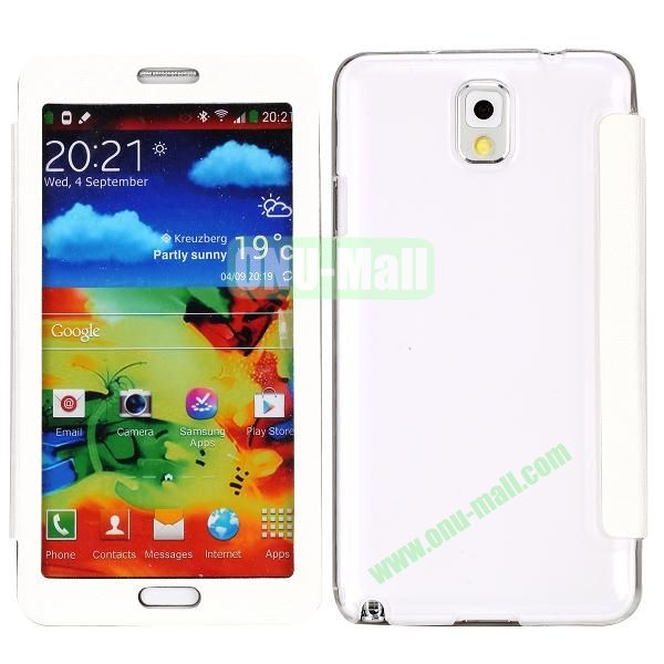 Touch Screen Transparent Back Cover Flip Leather Case for Samsung Galaxy Note 3N9000N9002N9005(White)