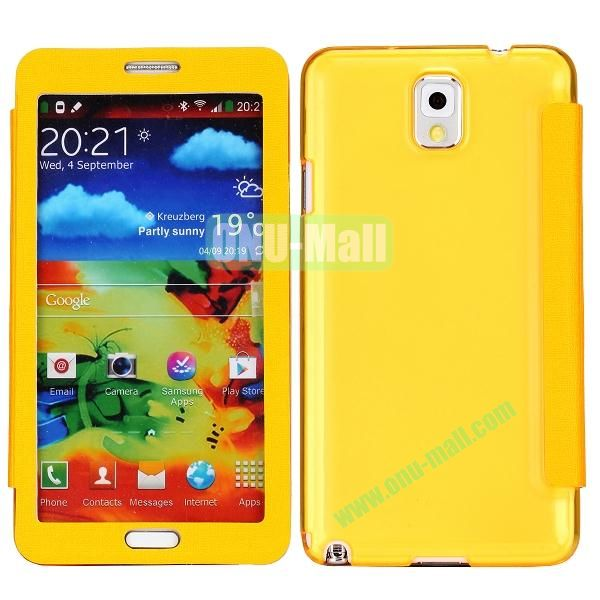 Touch Screen Transparent Back Cover Flip Leather Case for Samsung Galaxy Note 3N9000N9002N9005(Yellow)