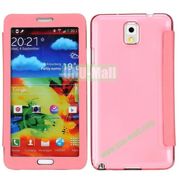 Touch Screen Transparent Back Cover Flip Leather Case for Samsung Galaxy Note 3N9000N9002N9005(Pink)