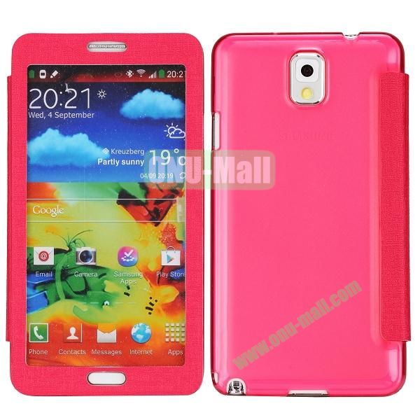 Touch Screen Transparent Back Cover Flip Leather Case for Samsung Galaxy Note 3N9000N9002N9005(Rose)