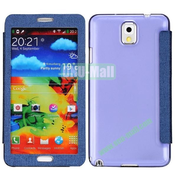 Touch Screen Transparent Back Cover Flip Leather Case for Samsung Galaxy Note 3N9000N9002N9005(Purple)