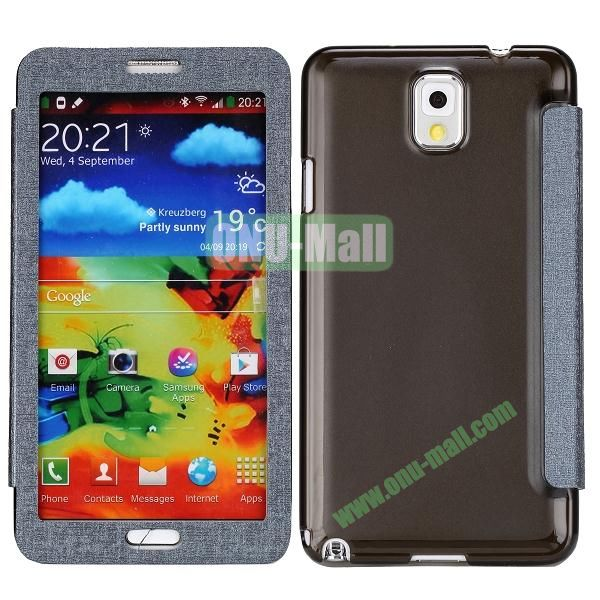 Touch Screen Transparent Back Cover Flip Leather Case for Samsung Galaxy Note 3N9000N9002N9005(Grey)