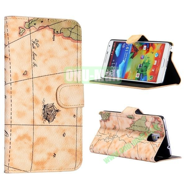 Map Pattern Flip Wallet Leather Case Cover for Samsung Galaxy Note 3 N9000 N9002 N9005(Yellow)