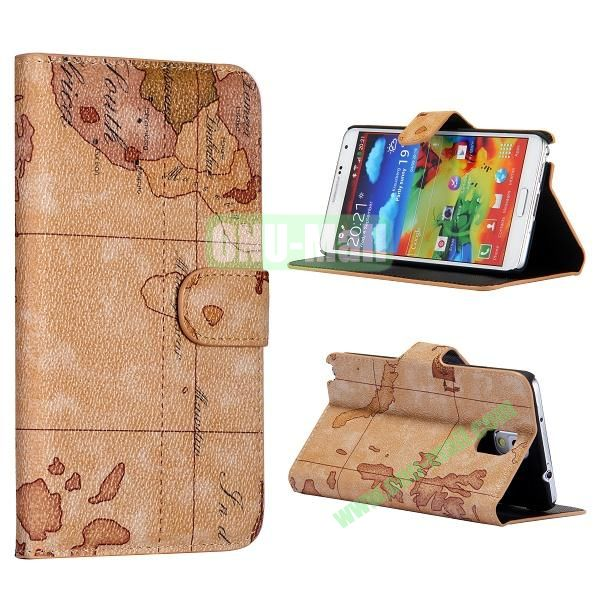 Map Pattern Flip Wallet Leather Case Cover for Samsung Galaxy Note 3 N9000 N9002 N9005(Brown)
