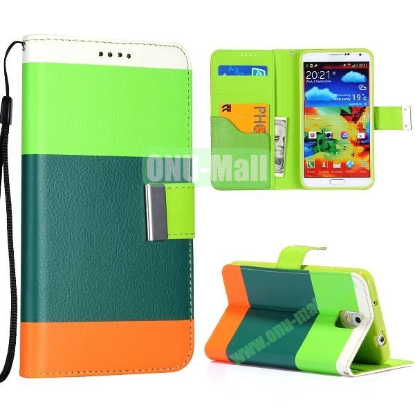 Color Mixed Wallet Leather Case Cover for Samsung Galaxy Note 3 N9000 N9002 N9005 with Strap (Green+Blue+Orange)