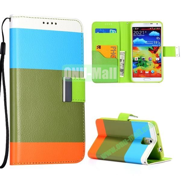 Color Mixed Wallet Leather Case Cover for Samsung Galaxy Note 3 N9000 N9002 N9005 with Strap (Blue+Breen+Orange)