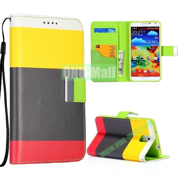 Color Mixed Wallet Leather Case Cover for Samsung Galaxy Note 3 N9000 N9002 N9005 with Strap (Yellow+Black+Red)