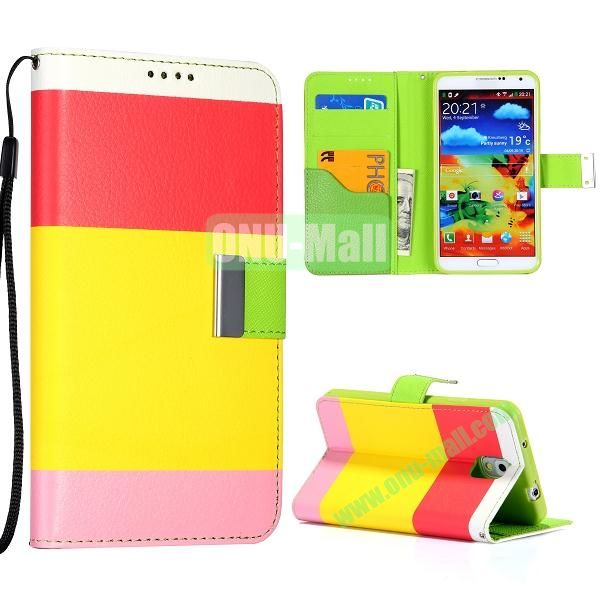 Color Mixed Wallet Leather Case Cover for Samsung Galaxy Note 3 N9000 N9002 N9005 with Strap (Red+Yellow+Pink)