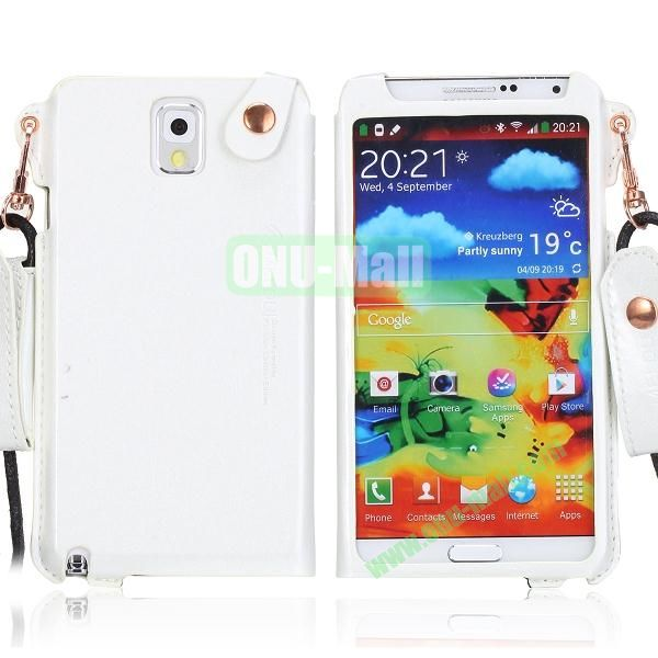 Cool Glitter Powder Design Ultra Thin Leather Case Cover for Samsung Galaxy Note 3 N9000 N9002 N9005 with Lanyard (White)