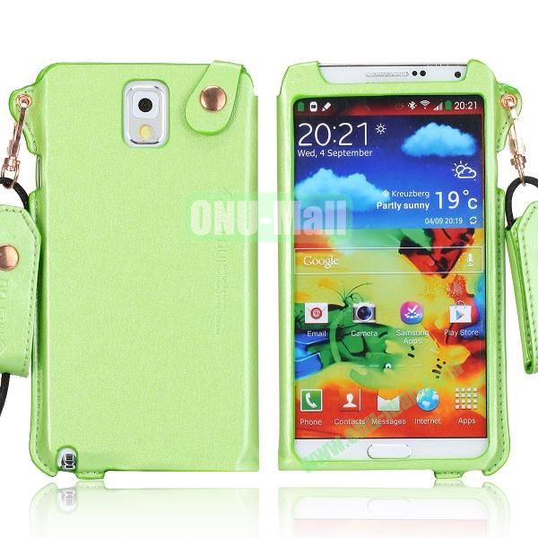 Cool Glitter Powder Design Ultra Thin Leather Case Cover for Samsung Galaxy Note 3 N9000 N9002 N9005 with Lanyard (Green)