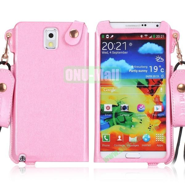 Cool Glitter Powder Design Ultra Thin Leather Case Cover for Samsung Galaxy Note 3 N9000 N9002 N9005 with Lanyard (Pink)