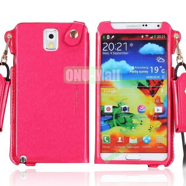 Cool Glitter Powder Design Ultra Thin Leather Case Cover for Samsung Galaxy Note 3 N9000 N9002 N9005 with Lanyard (Red)
