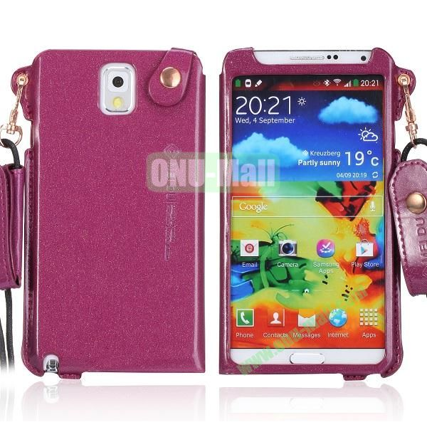 Cool Glitter Powder Design Ultra Thin Leather Case Cover for Samsung Galaxy Note 3 N9000 N9002 N9005 with Lanyard (Purple)