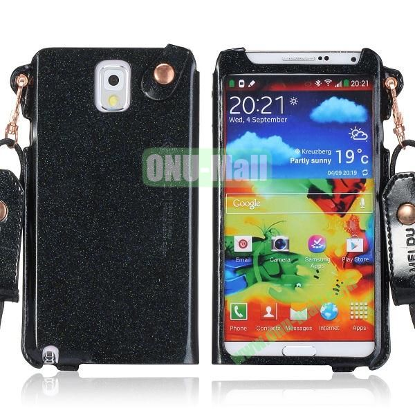 Cool Glitter Powder Design Ultra Thin Leather Case Cover for Samsung Galaxy Note 3 N9000 N9002 N9005 with Lanyard (Black)