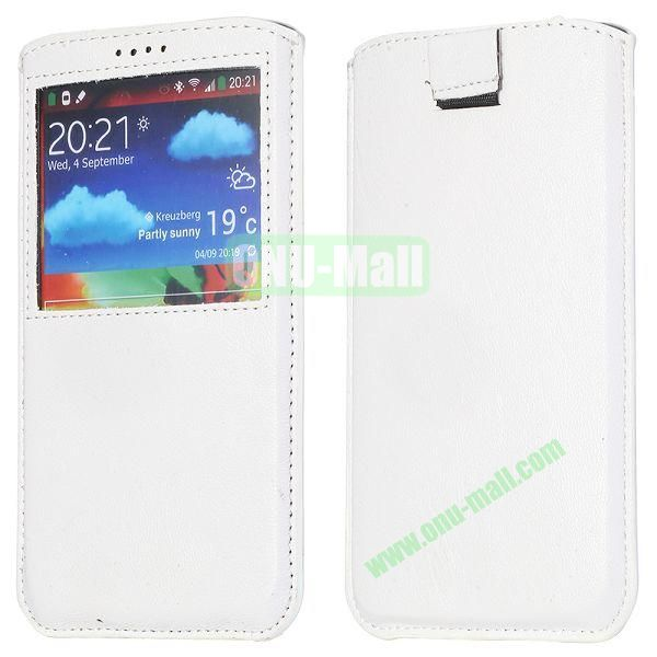 Smooth Caller Display Window leather Pouch for Samsung Galaxy Note III N9000 (White)