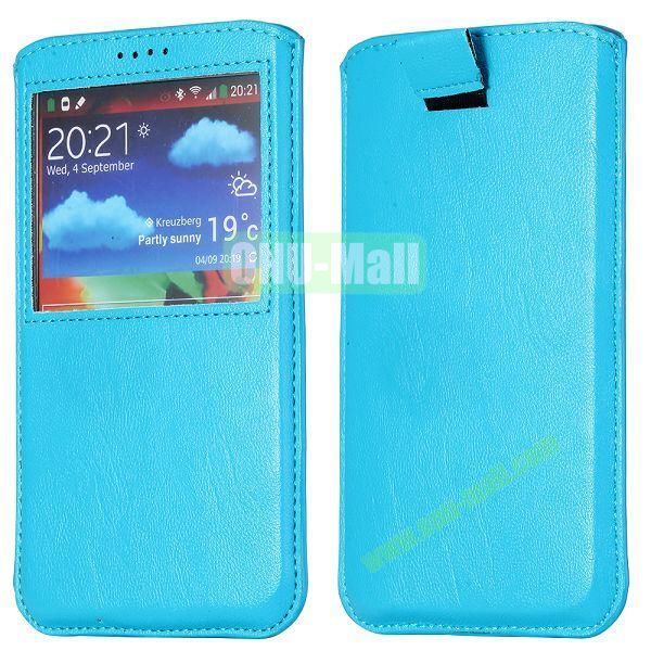 Smooth Caller Display Window leather Pouch for Samsung Galaxy Note III N9000 (Blue)