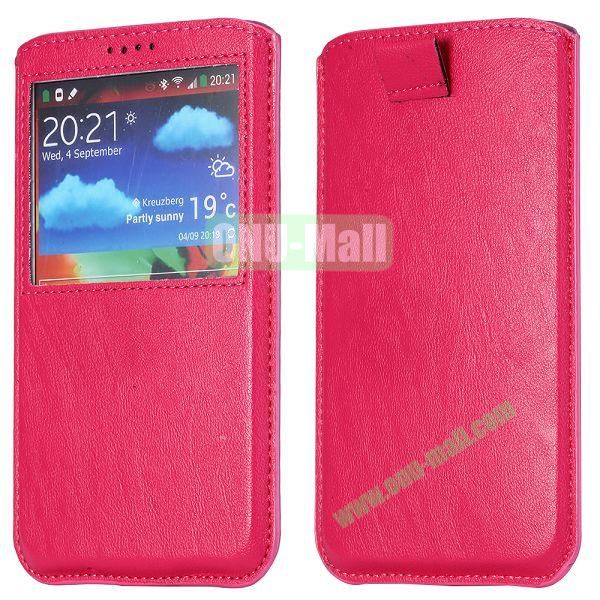 Smooth Caller Display Window leather Pouch for Samsung Galaxy Note III N9000 (Rose)
