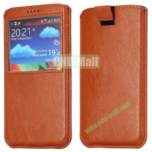 Smooth Caller Display Window leather Pouch for Samsung Galaxy Note III N9000 (Brown)