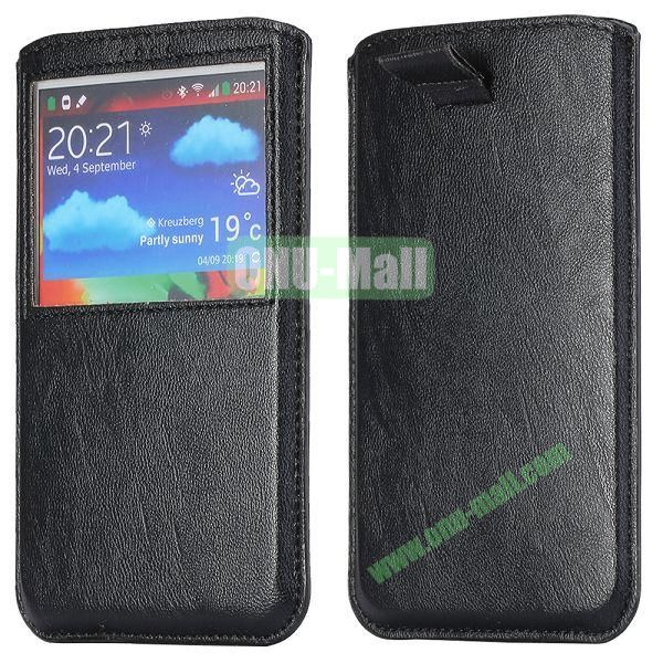 Smooth Caller Display Window leather Pouch for Samsung Galaxy Note III N9000 (Black)