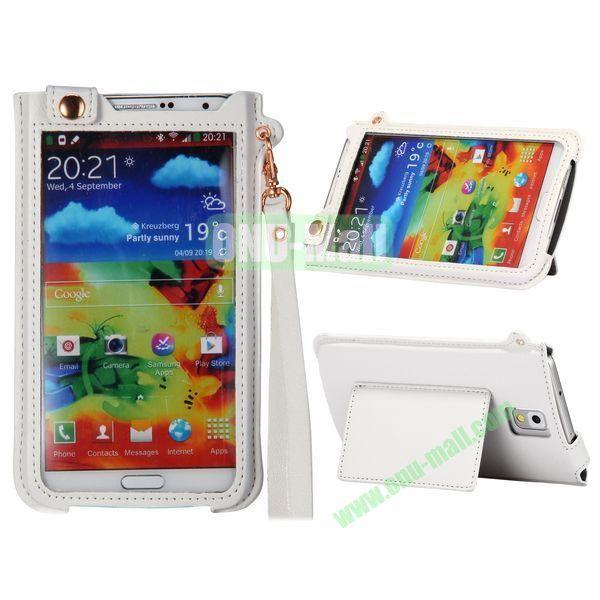 Fashionable Touchable Pouch Leather Case Cover for Samsung Galaxy Note 3 N9000 (White)