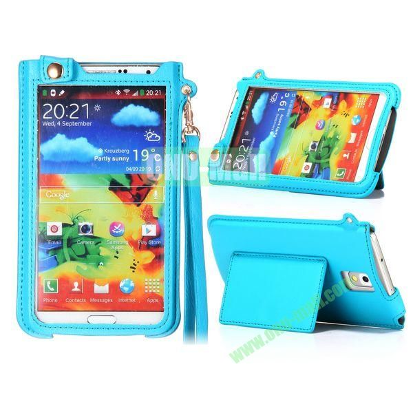 Fashionable Touchable Pouch Leather Case Cover for Samsung Galaxy Note 3 N9000 (Light blue)