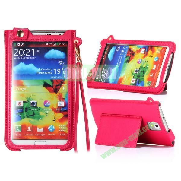 Fashionable Touchable Pouch Leather Case Cover for Samsung Galaxy Note 3 N9000 (Red)