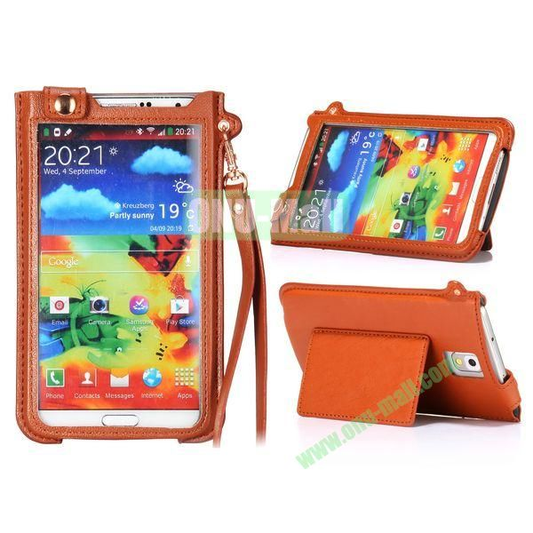 Fashionable Touchable Pouch Leather Case Cover for Samsung Galaxy Note 3 N9000 (Brown)