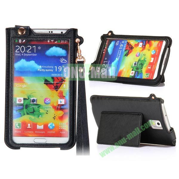 Fashionable Touchable Pouch Leather Case Cover for Samsung Galaxy Note 3 N9000 (Black)