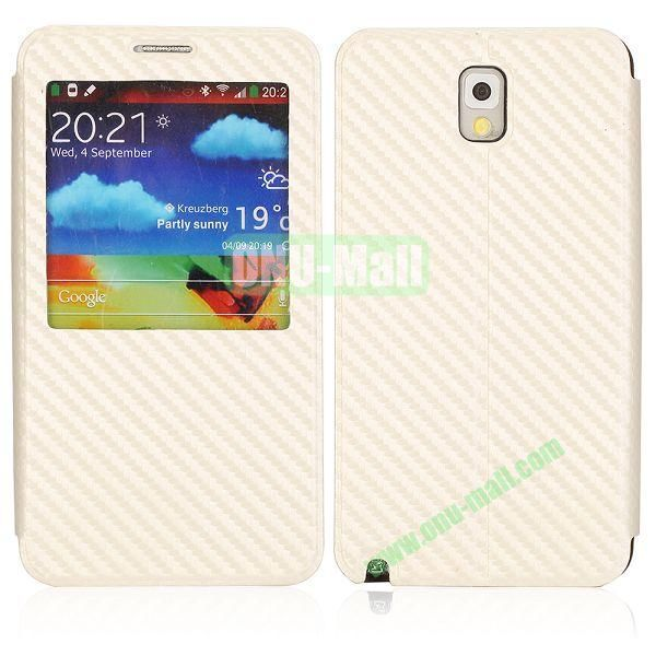 Woven Texture Caller ID Display Window Pure Color Flip Case Cover for Samsung Galaxy Note3 N9000 (Beige)
