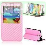 Woven Texture Caller ID Display Window Pure Color Flip Case Cover for Samsung Galaxy Note3 N9000 (Pink)