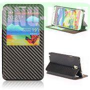 Woven Texture Caller ID Display Window Pure Color Flip Case Cover for Samsung Galaxy Note3 N9000 (Black)