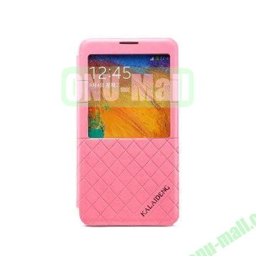 KLD Dress Series Caller ID Display Window Flip Stand Leather Case for Samsung Galaxy Note 3 N9000 N9005 (Pink)