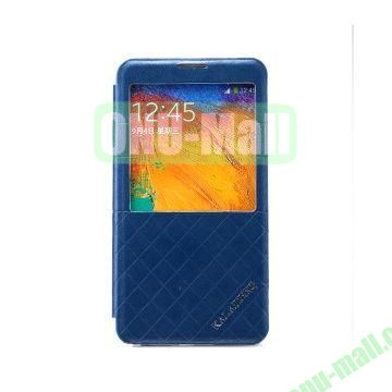 KLD Dress Series Caller ID Display Window Flip Stand Leather Case for Samsung Galaxy Note 3 N9000 N9005 (Blue)
