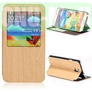 Wood Grain Flip Stand PU+PC Leather Case for Samsung Galaxy Note3 N9000 with Caller ID Display Window (Yellow)