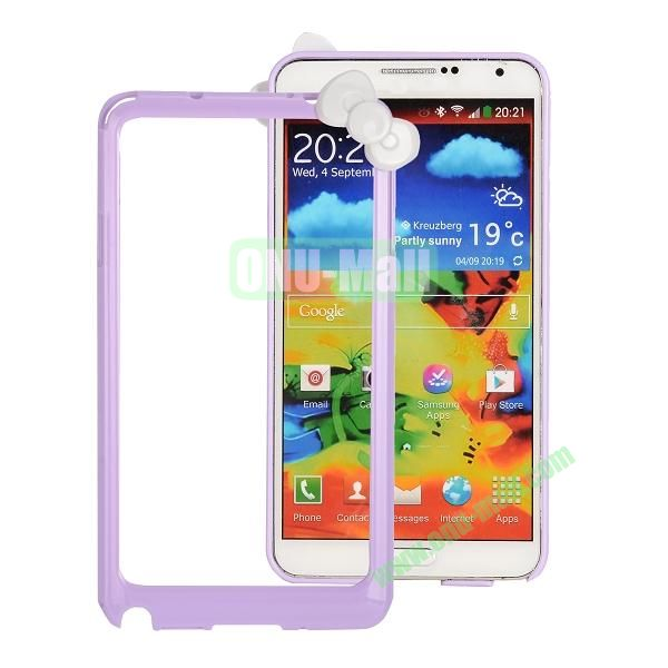 Cute Bowknot Style Plastic Bumper Case Cover for Samsung N9000 Galaxy Note 3(Purple)