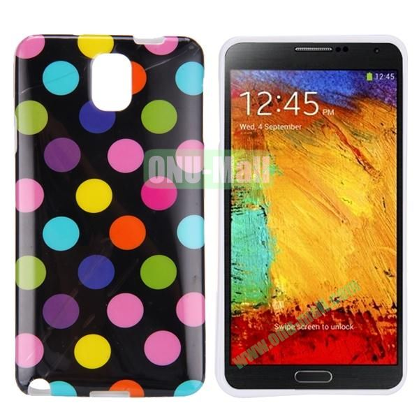 Polka Dots Flexible TPU Case For Samsung Galaxy Note 3 N9000 (Black+Colorful)